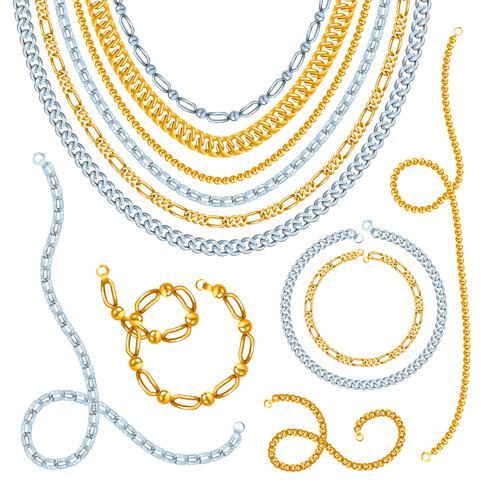 Conjunto de cadenas de oro y plata