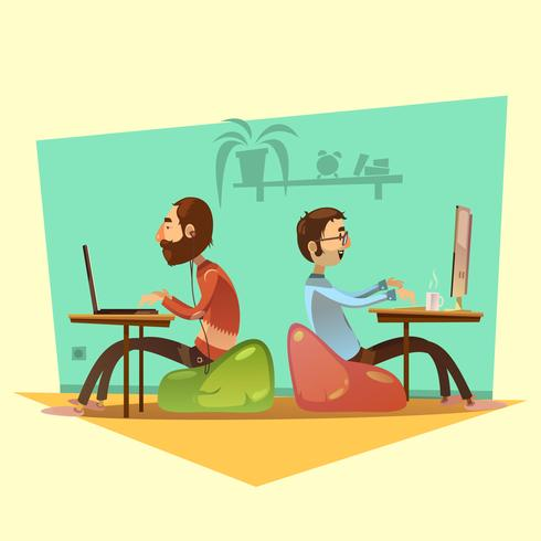 Coworking Cartoon Set Illustration