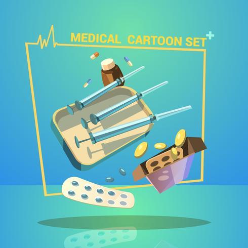 Conjunto de dibujos animados de medicina vector