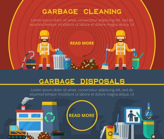 Limpieza de basura Banners horizontales vector