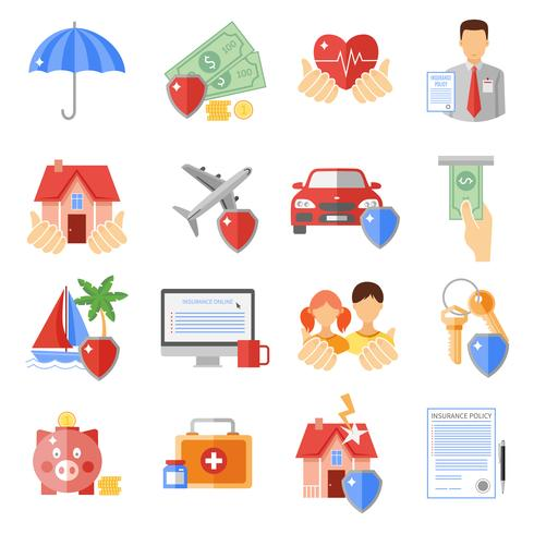 Conjunto de ícones de seguros vetor