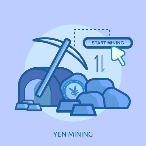 Bitcoin Mijnbouw Conceptueel illustratieontwerp