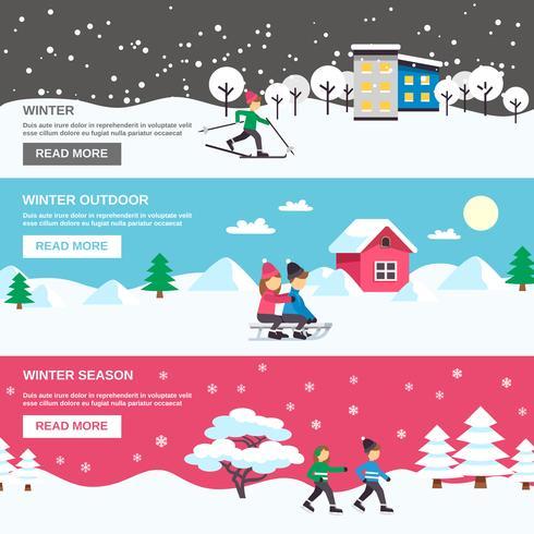 Temporada de inverno 3 conjunto de Banners plana vetor