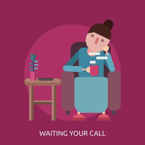 Väntar på ditt samtal Konceptuell illustration Design