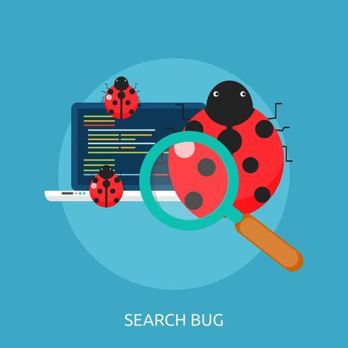 Disegno concettuale dell'illustrazione dell'insetto di ricerca vettore