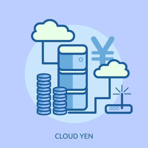 Cloud Bitcoin Konceptuell illustration Design