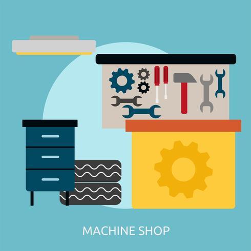 Maskinbutik Konceptuell illustration Design