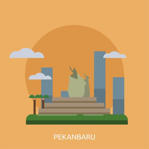 Ville de Pekanbaru en Indonésie Illustration conceptuelle Conception
