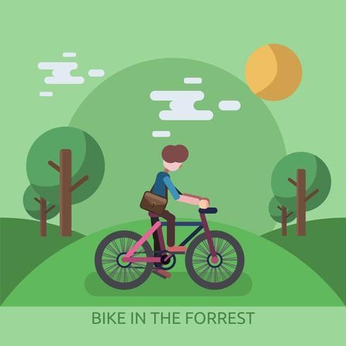 Cykel I Forrest Konceptuell Illustration Design