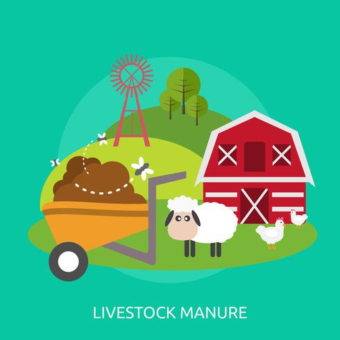 Progettazione concettuale dell'illustrazione del concime del bestiame