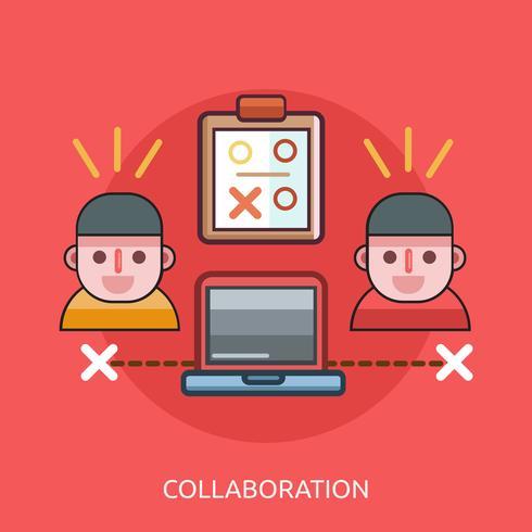 Samenwerking Conceptueel illustratieontwerp