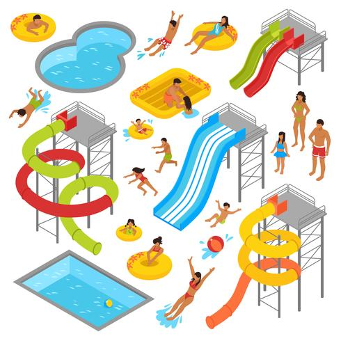 Aqua Park Isometric Icons Set