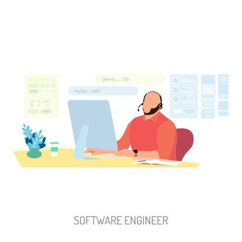 Software Engineer Conceptual illustration Design vector