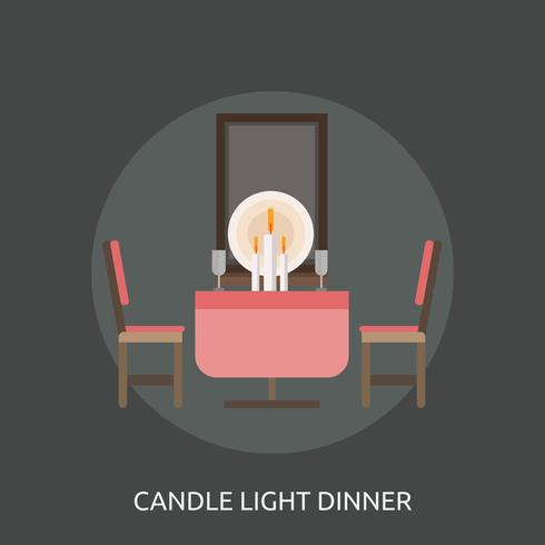 Candle Light Dinner Conceptual illustration Design