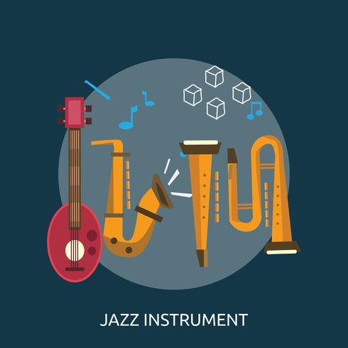 Jazz Instrumento Conceptual Ilustración Diseño vector