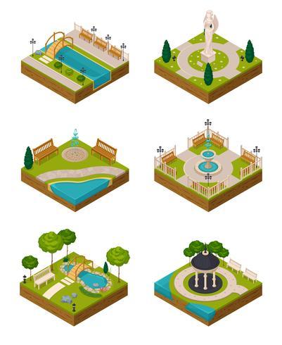 Ensemble de compositions de conception de paysage isométrique
