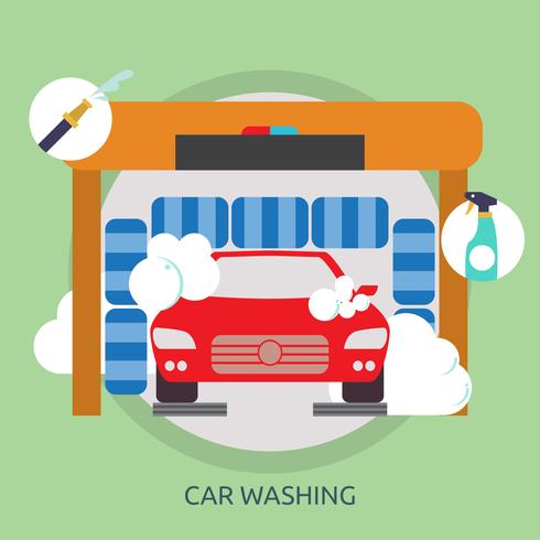 Bil Tvätt Konceptuell Illustration Design