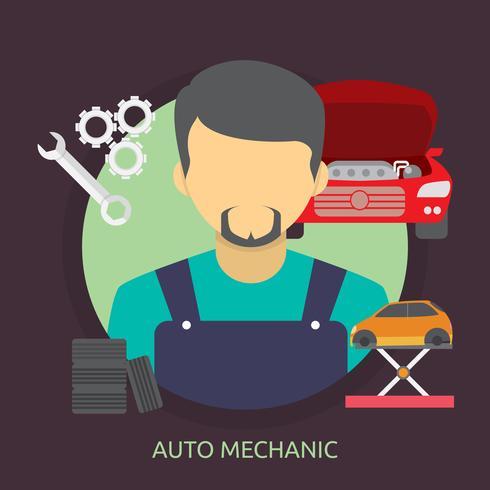 Mecánico de automóviles Ilustración conceptual de diseño