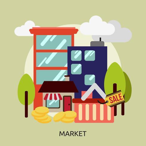 Progettazione dell'illustrazione concettuale del mercato