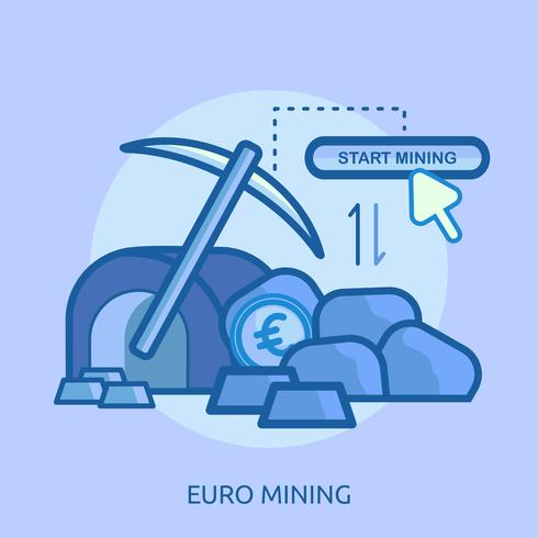 Minería Bitcoin Conceptual Ilustración Diseño