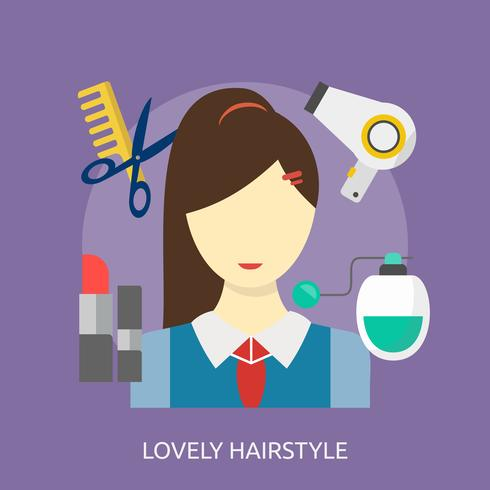 Lovely Hairstyle Conceptual illustration Design