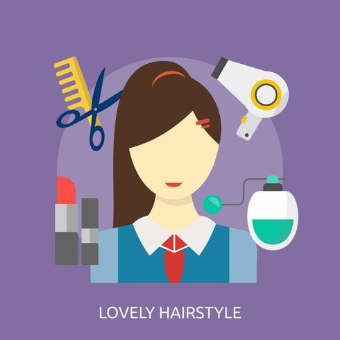 Precioso peinado conceptual ilustración diseño