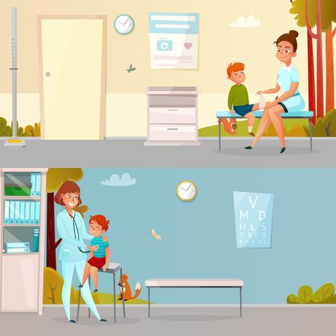 Visitas infantiles Doctor Banners de dibujos animados vector