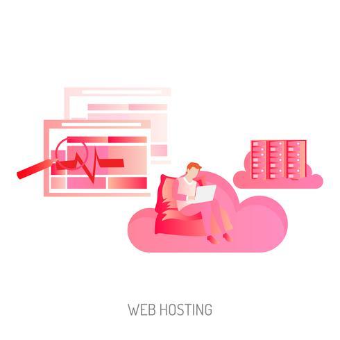 Progettazione dell'illustrazione concettuale di web hosting