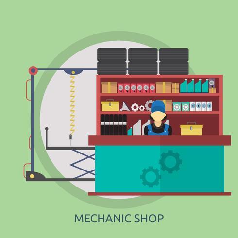 Mecánica Tienda Conceptual Ilustración Diseño. vector
