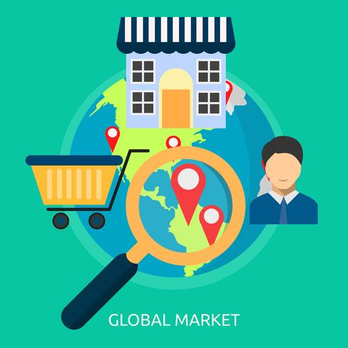 Mercado global Ilustración conceptual Diseño vector