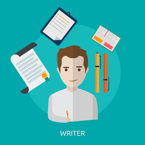 Escritor Conceptual Ilustración Diseño vector