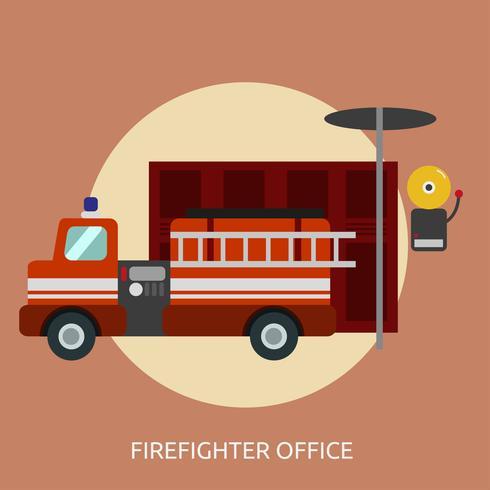 Progettazione dell'illustrazione concettuale dell'ufficio del pompiere