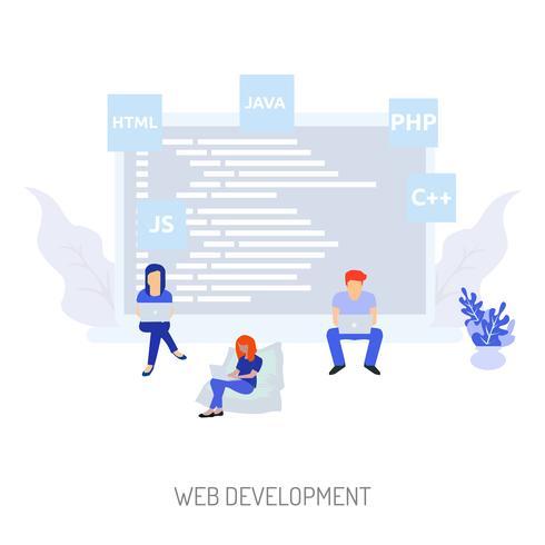 Ilustração conceitual de desenvolvimento Web Design
