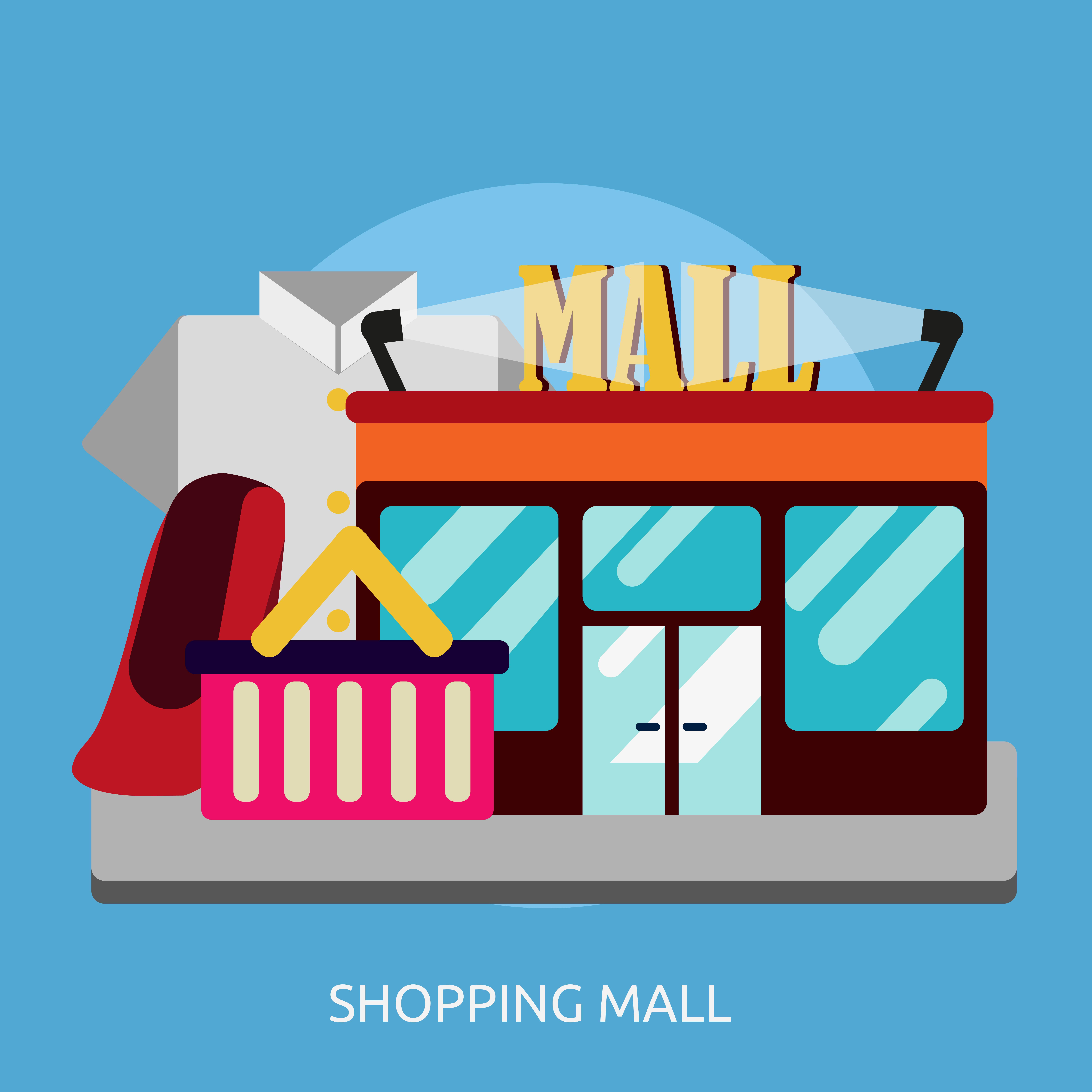 Supermarket Logo Concept: Shopping Mall Conceptual Illustration Design 474187 Vector