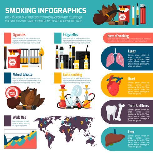 Modelo plano de infográficos de fumar vetor