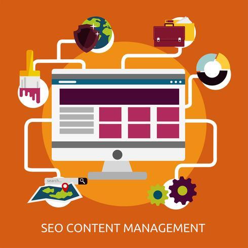 Diseño de ilustración conceptual de gestión de contenido SEO vector