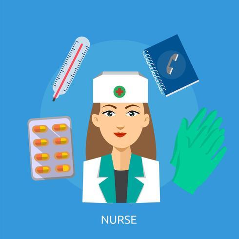 Enfermera Conceptual Ilustración Diseño vector