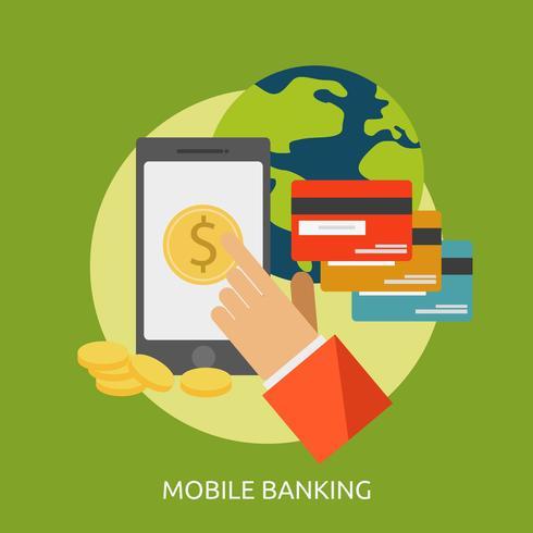 Banca Móvil Conceptual Ilustración Diseño vector