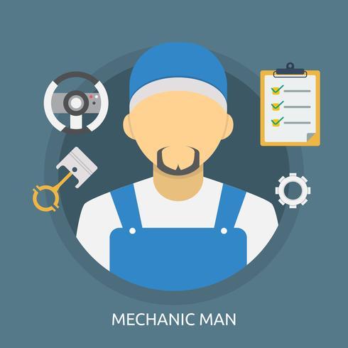 Mecánico Hombre Conceptual Ilustración Diseño