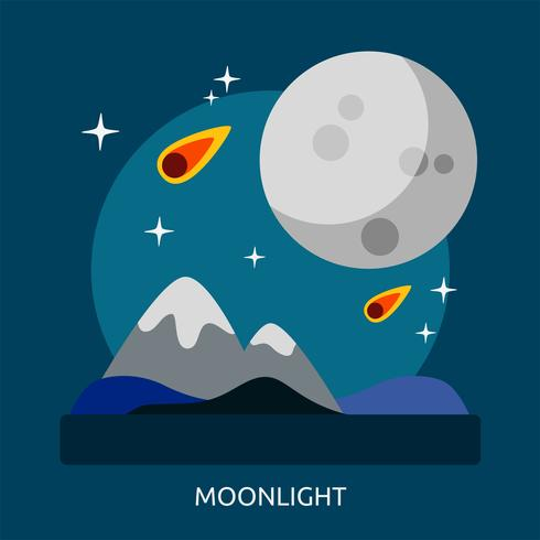Diseño conceptual de la ilustración de la luz de la luna