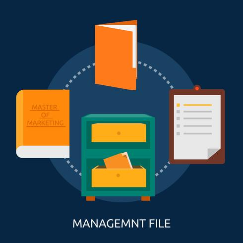 Disegno dell'illustrazione concettuale dell'archivio di gestione