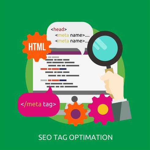 Optimización de etiquetas SEO Ilustración conceptual Diseño