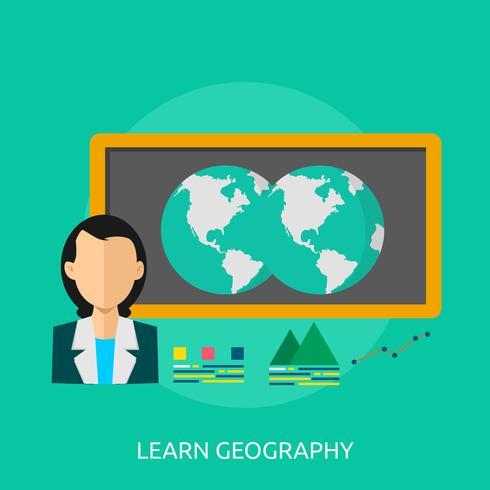 Aprendizaje Geografía Conceptual Ilustración Diseño. vector