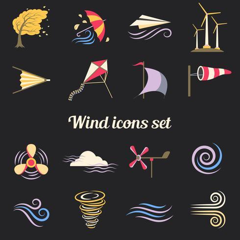 Iconos planos de colores de viento vector