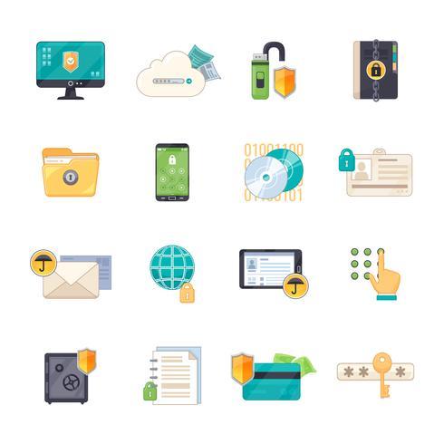 Conjunto de iconos planos de símbolos de protección de datos