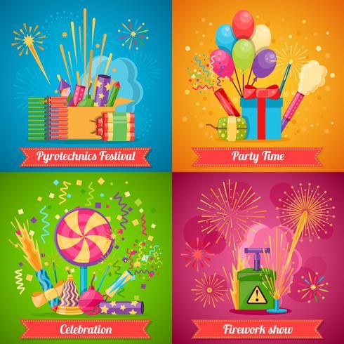 Set di icone piatto 2x2 Festival della pirotecnica vettore