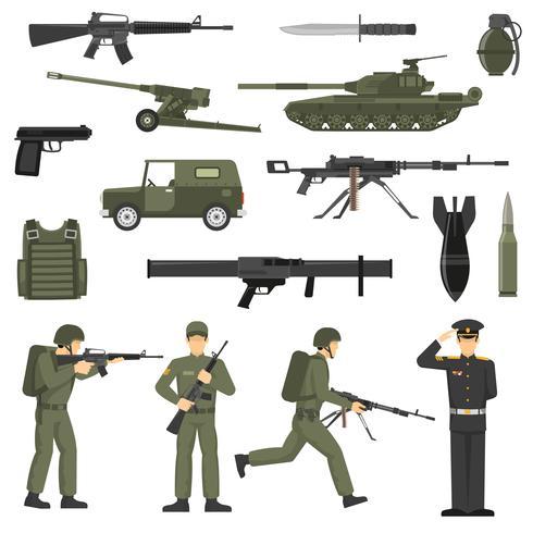 Exército Militar Khaki Color Icons Collecton vetor