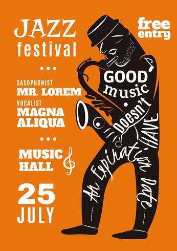 Jazz Music Festival Lettering Silhouette Poster vettore