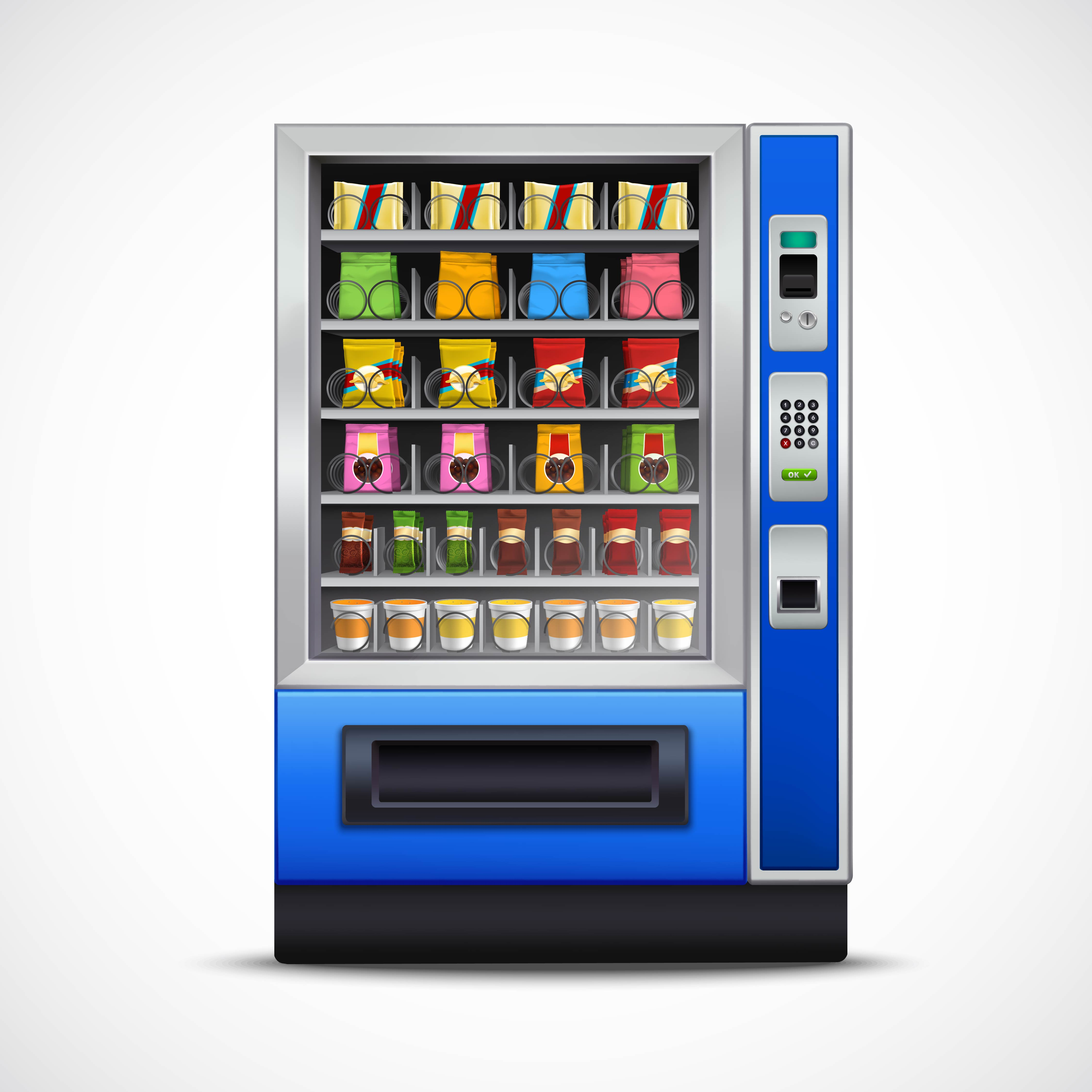 Realistic Snacks Vending Machine - Download Free Vectors, Clipart Graphics & Vector Art