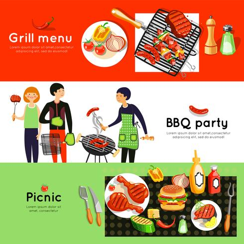 Barbecue Party 3 Horizontal Banners Set  vector
